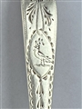Set Six Antique Irish George III hallmarked sterling silver bright-cut dessert spoons, 1793
