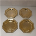 Mid 19th Century Antique Victorian Sterling Silver Gilt Set Four Octagonal Plates London 1848 Daniel & Charles Houle