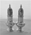 Super quality pair crested George II silver castors London 1742 Samuel Wood