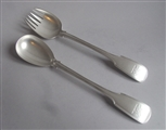 A VERY FINE PAIR OF SALAD SERVERS MADE IN LONDON IN 1843 BY RICHARD BRITTON.