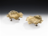 An Extremely Fine & Unusual Pair of George III Shell Dishes Made in London in 1814 by William Elliott