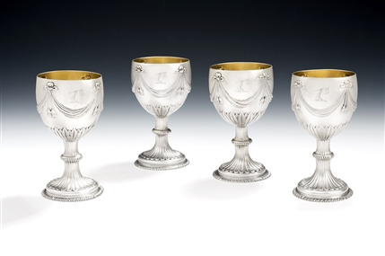 An Important & Extremely Rare Set of Four George Iii Neo Classical Drinking Goblets Made in London in 1773 by William Turton