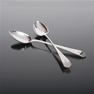 Pair Hand-engraved, Silver-plated Basting Spoons